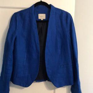 Linen blazer w/ ruffle back